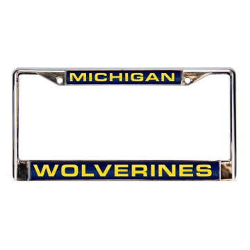 Michigan Wolverines Blue Laser Chrome License Plate Frame