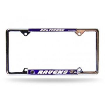 Baltimore Ravens Full Color Thin Top Chrome License Plate Frame