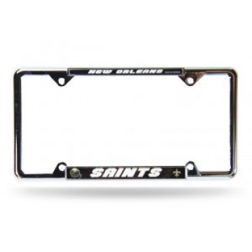 New Orleans Saints Full Color Thin Top Chrome License Plate Frame