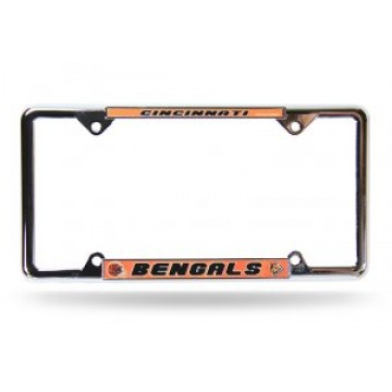 Cincinnati Bengals Full Color Thin Top Chrome License Plate Frame