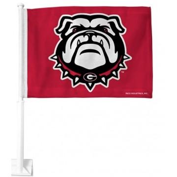 Georgia Bulldog Red Car Flag