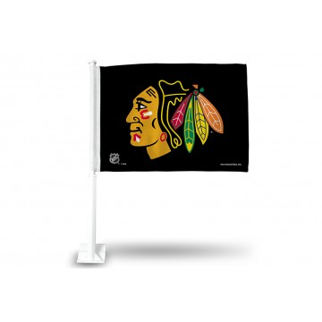 Chicago Blackhawks Black Car Flag