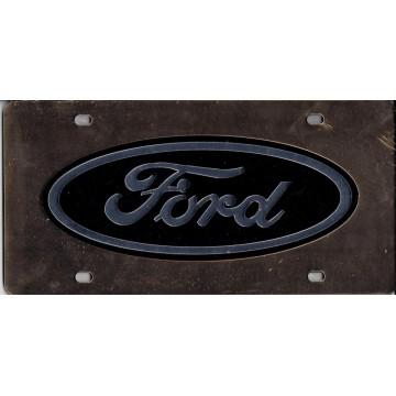 Ford Logo Black On Gold Laser License Plate