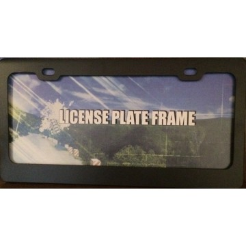 Blank Smooth Black 2 Hole Metal License Plate Frame