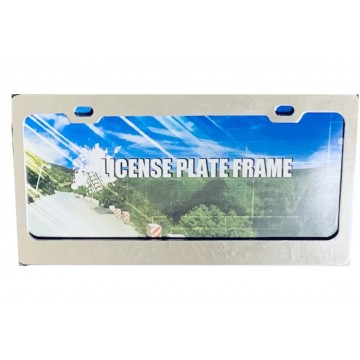 Blank Smooth Chrome 2 Hole Metal  License Plate Frame