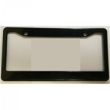 Black Double Panel Blank Smooth Plastic License Plate Frame