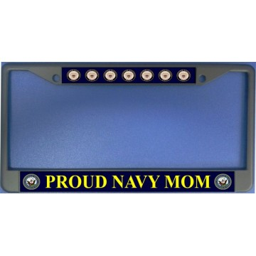Proud Navy Mom Chrome License Plate Frame