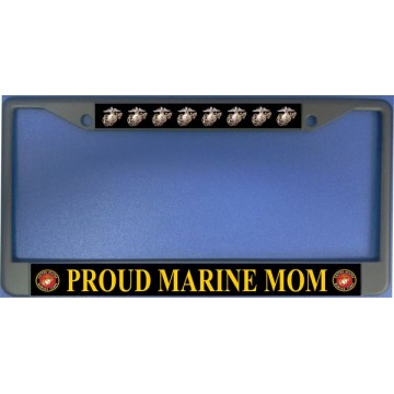 Proud Marine Mom Chrome License Plate Frame