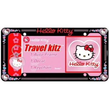 Hello Kitty License Frame + Decal + Keychain Set