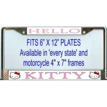 Hello Kitty Chrome License Plate Frame