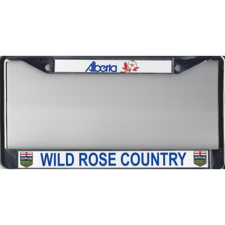 Alberta Wild Rose Country Chrome License Plate Frame