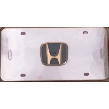 Honda 3-D Gold Logo Stainless Steel License Plate