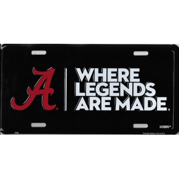 Alabama Crimson Tide Where Legends Are Made Metal License Plate