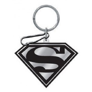 Black And Silver Superman Enamel Keychain