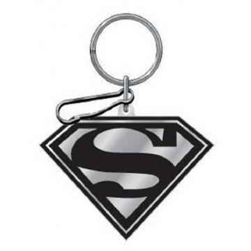 Black And Silver Superman Enamel Keychain
