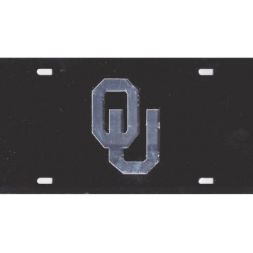 Oklahoma Sooners Black Laser License Plate