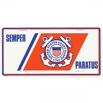 U.S. Coast Guard Logo Semper Paratus License Plate