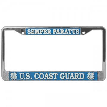 U.S. Coast Guard Semper Paratus Chrome License Plate Frame