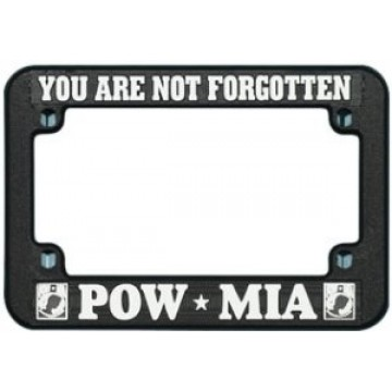 POW MIA Motorcycle Black Plastic License Plate Frame