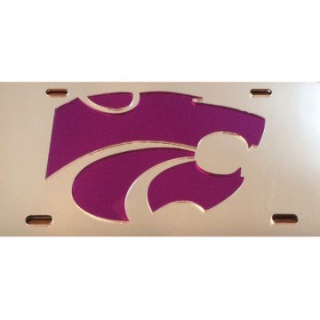 Kansas State Wildcats Logo Silver Purple Laser License Plate