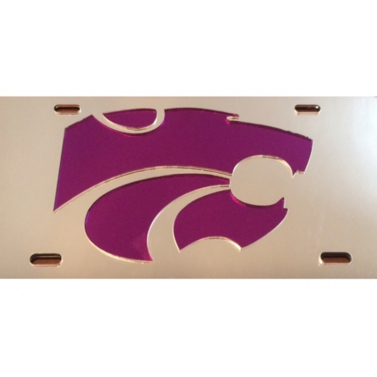 Kansas State Wildcats Logo Silver Purple Laser License Plate