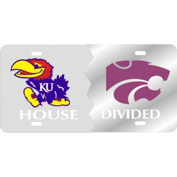 Kansas Jayhawks / Kansas State Wildcats House Divided Silver Laser License Plate