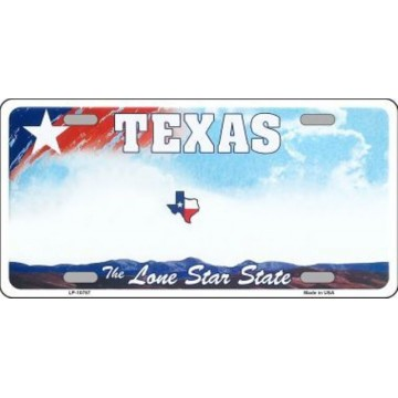 Texas New State Background Metal License Plate