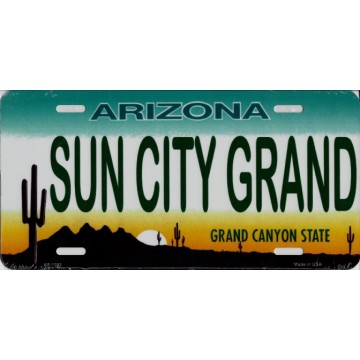 Arizona Sun City Grand Metal License Plate