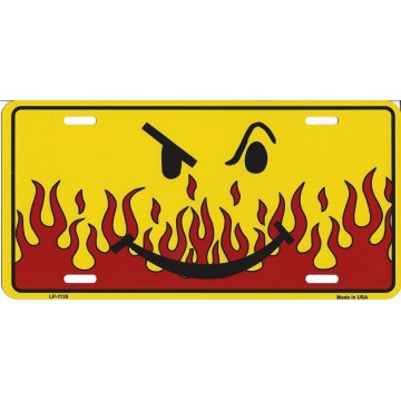 Flaming Smirk Metal License Plate
