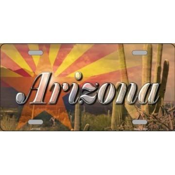 Arizona State Flag Overlay On Cactus Metal License Plate