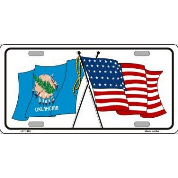 Oklahoma Crossed U.S. Flag Metal License Plate