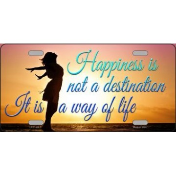 Happiness Way Of Life Sunset Metal License Plate