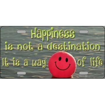 Happiness Way Of Life ... Smiley Ball Metal License Plate