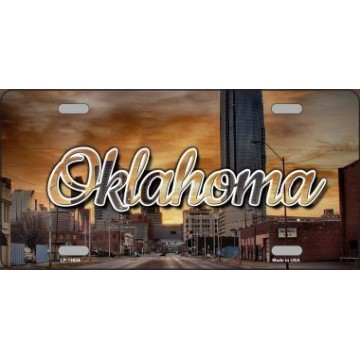 Oklahoma Sunset Skyline State Metal License Plate