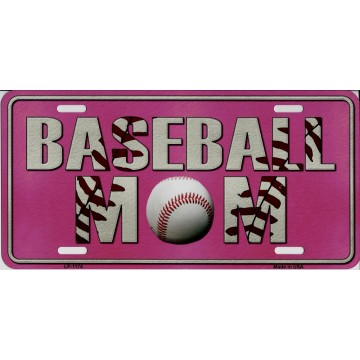 Baseball Mom Pink Metal License Plate