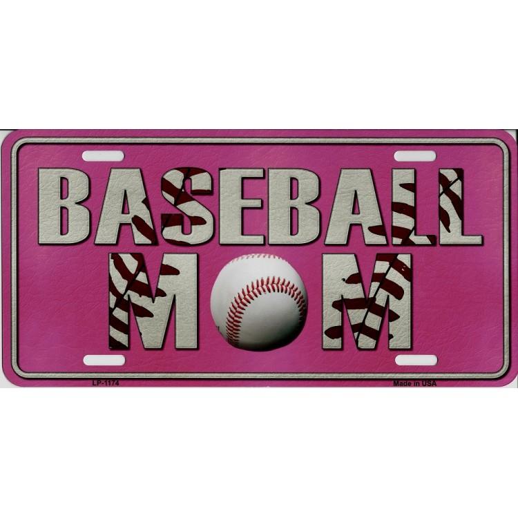 Baseball Mom Pink Metal License Plate