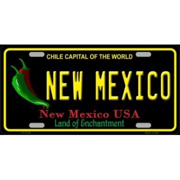 New Mexico Black State Metal License Plate