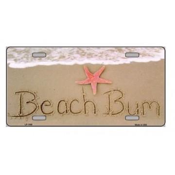 Beach Bum Metal License Plate