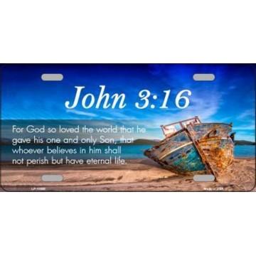 John 3 16 Beach Metal License Plate