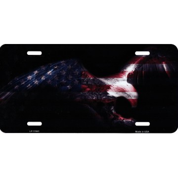 Eagle American Flag Metal License Plate