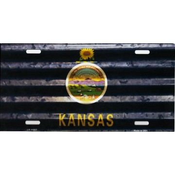 Kansas Corrugated Flag Metal License Plate