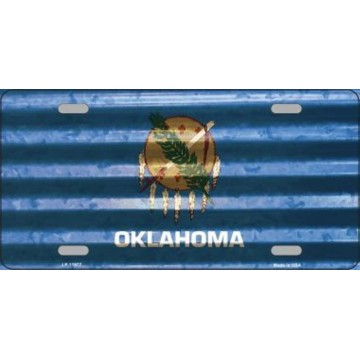 Oklahoma Corrugated Flag Metal License Plate