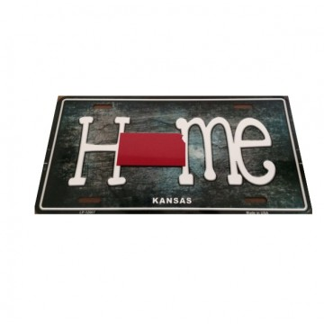 Kansas Home State Outline Metal License Plate