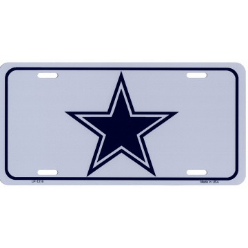 Country Blue Star Centered Metal License Plate