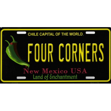Four Corners New Mexico Metal License Plate