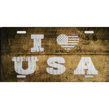 I Love USA Metal License Plate