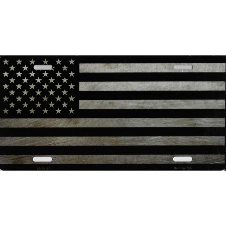 American Flag Metal License Plate