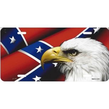 Confederate Flag Eagle Rebel License Plate