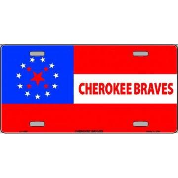 Cherokee Braves Flag Metal License Plate