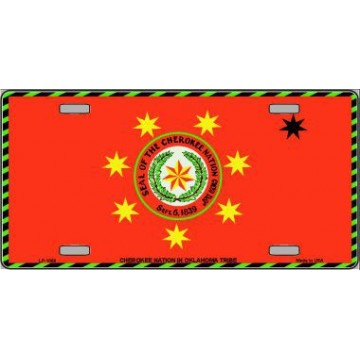 Cherokee Nation Flag Metal License Plate